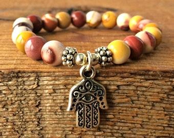A Grade Mookaite Jasper Bracelet, Australian Jasper Jewelry, Yoga Wrist Mala Beads, Buddhist Meditation, Nurturing - Grounding - Playfulness