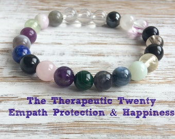 The Therapeutic Twenty Empath Protection & Happiness Bracelet, Healing Crystals, Aura Protection - Heighten Intuition and Psychic Gifts