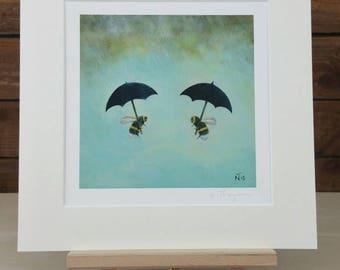 Umbrella and Bee Art Print - Bumble Bee Art - Fine Art Print - Wildlife Painting - Gift Idea - Home and Nursery Decor