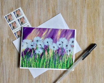 Greeting Card - Dandelion Greeting Card - Blank Card - All Occasion Card - Card For Her - Stationery Set - Birthday Card -One of a Kind Card