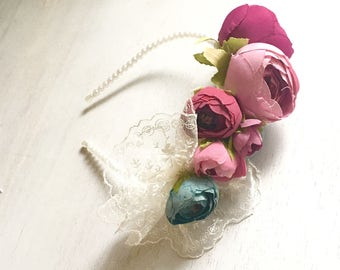 Flower headband, pearl fower crown