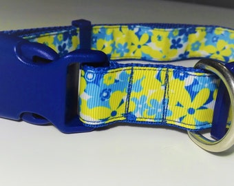 Adjustable Floral Dog Collar - Blue