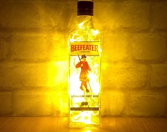 Upcycled Beefeater London Dry Gin bottle lamp - ideal for home, office, bar, man cave ... ANYWHERE