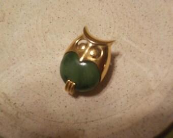 Trifari,  Owl Pin with Green Stone