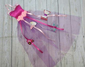Pretty Hair Bow Holder - Floral Trim Bodice - Tulle Skirt - Hair Clip Holder - Pink - Glitter - Ribbons - Hanging - Girls Bedroom - Decor