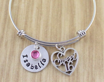 Personalized Sweet 16 Bangle Bracelet | Sweet 16 Gift | Sweet 16 Bracelet | Silver Expandable Bracelet | Sweet Ride Accessories 5 Star Shop