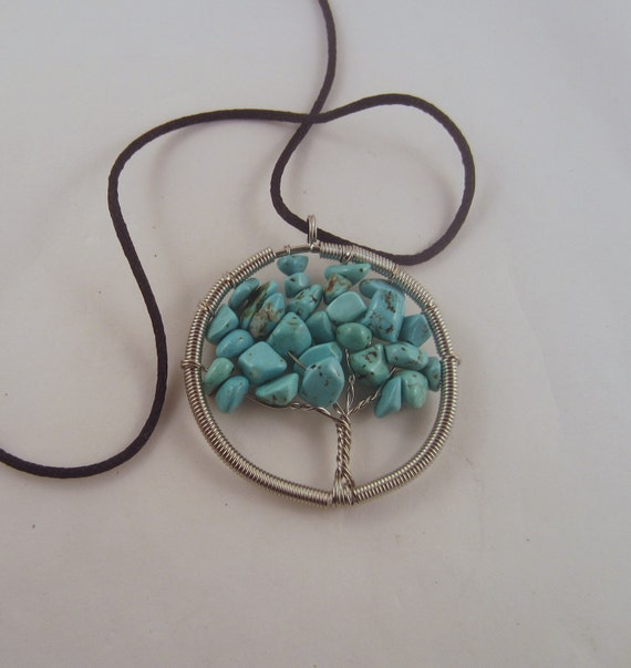 Tree of Life  Necklace Turquoise  Natural Crystal Pendant, Stone Jewelry