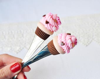 Sweet spoon.  Tea spoon.  Handmade spoon. Polymer clay spoon. Cake on a spoon.