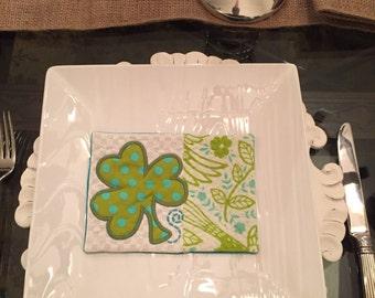 St Patrick's Day Mug Rug, St. Patrick's Day Coaster, Table Decoration, St Pat Day Gift, Hostess Gift, Teacher Gift, Shamrock, Green & White