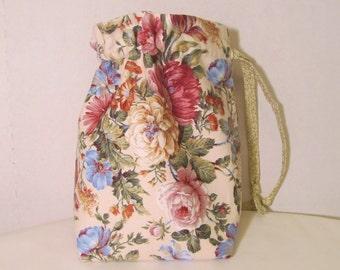 Shabby Pink drawstring bag, cosmetic bag, gift bag, handmade bag
