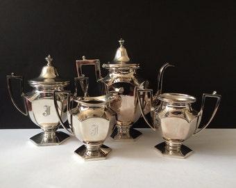 Vintage Art Deco silver plate Van Bergh Coffee service with single monogram