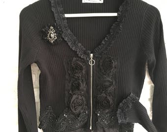 Cardigan, jacket, black, boho, vintage