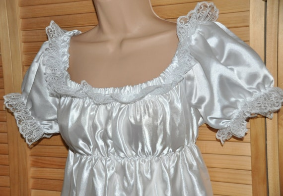 Baby snow white little silky satin sissy dress with matching slithery bloomers, Sissy Lingerie