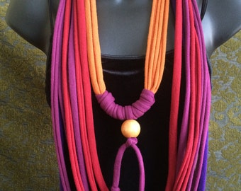 multi strand beaded tshirt necklace