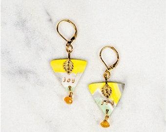 Joy, Citrine Earrings, Joy Earrings, Happy, Polymer Clay Earrings, Clay Jewelry, Gemstone Earrings