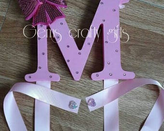 Hair Bow holder, Hair bow organiser,  Hair Bows. Made in your chosen initial and colours.