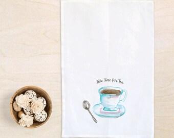 Kitchen towels, Time for Tea, flour sack towel, cotton dish towel, tea cup art, tea towel, printed tea towel, kitchen decor, gift for her