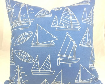 """Indoor/Outdoor Blue Nautical Cushion Cover. Fits a 18"""" square pillow insert."""