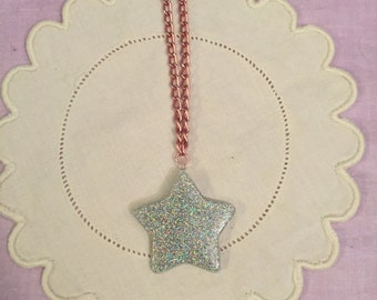 Cute Kawaii Sparkly Holographic Star Resin Pendant Necklace