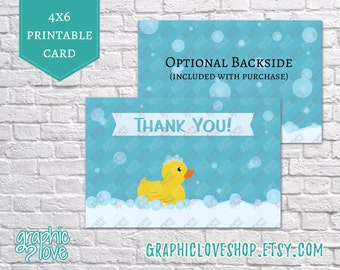 Printable 4x6 Rubber Duck Thank You Card | Digital High Resolution JPG File, Instant Download
