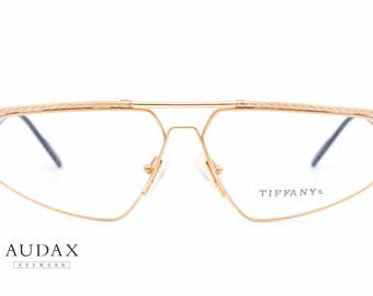 Tiffany Lunettes T/51 vintage eyeglasses frames / squared frames made of gold plated metal  / luxury item made in the 90's