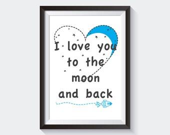 Instant Download Printable Art, Modern Minimalist Print , Digital Kids Moon Print, Printable Decor, Nursery Art