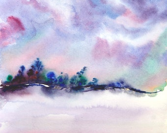 Abstract landscape watercolor painting winter landscape painting original watercolor painting original landscape painting nature art artwork