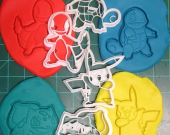 Pokemon Pikachu, Charmander, Bulbasaur, Squirtle Cookie Cutters