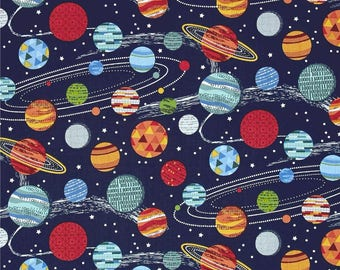 Galaxy Planets on Midnight Space Solar System Cotton Fabric from Galaxy Collection by Makower