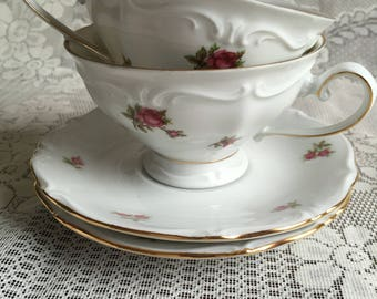 2 Bavaria Rose pattern Tea Set/ 2 cups/2 Saucer