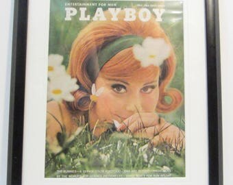 Vintage Playboy Magazine Cover Matted Framed : July 1963 - Judy Newton