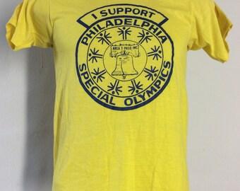 Vtg 80s Screen Stars I Support Philadelphia Special Olympics T-Shirt Yellow XS/S 50/50