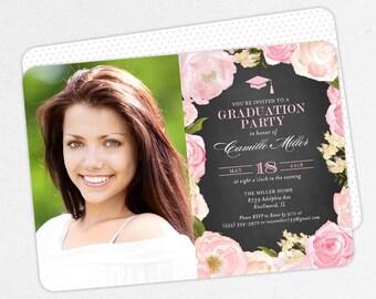 Graduation Invitation, Photo Graduation Invitation, Graduation Announcement, Printable, PDF, Watercolor, Flower, Pink, Chalkboard, Camille