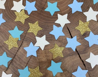 150 twinkle Star Confetti pieces. Gold glitter, blue stars, ivory stars, Table decoration