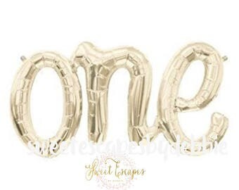 One Script Balloon ~ One Balloon ~ First Birthday Balloon Prop~ First Birthday Party ~ White Gold One Balloon ~ First Birthday Party Decor