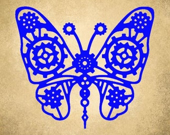 Vinyl Decal, Gear Butterfly, Victorian Steampunk, Dr Who, Valentine's Day, Gift for Her, Window Sticker, Laptop Decal, Cosplay, Stickers