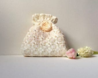 Wedding bag, bridal bag, flower girl bag, ivory satin and net drawstring pouch, hand made bag, bridesmaids bag, jewellery bag