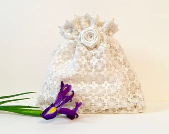 Wedding bag, bridal bag, flower girl bag, ivory satin and net drawstring pouch, hand made bag, bridesmaids bag, jewellery bag,