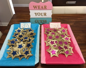 Wear Your Guess Pins for Baby Gender Reveal Party