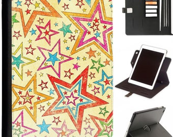 P-PAT06-VINTAGE Luxury Apple ipad 360 swivel i pad leather case cover with card slots stars