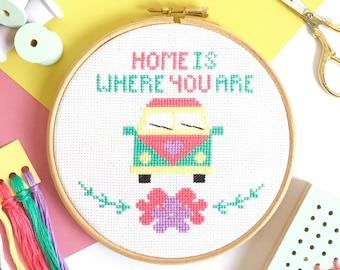 Modern Cross Stitch Kit For Beginners - Campervan