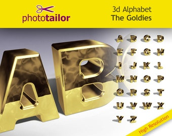 3d Alphabet Goldies Clipart | High resolution 26 Letters, background removed separated in layers Photoshop ideal for create DIY Custom words