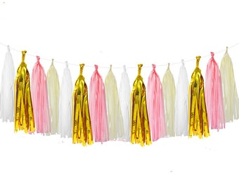 Mixed Ivory Pink Gold White Tissue Paper Tassel Garland, 20 Tassels Per Package, Wedding Baby Shower Garland,  Party Tassels