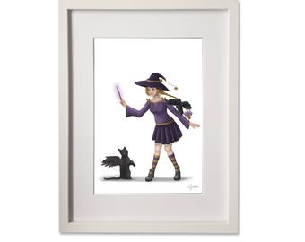 A4 Print - The Cat, Raven & the Witch - digital fantasy art