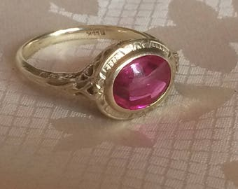 Vintage Synthetic Red Spinel Ring, Oval Ruby Colored Ring, 14K Statement Ring, Size 5.5