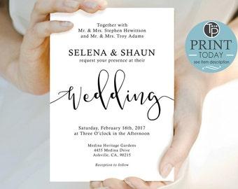 WEDDING INVITATION, Wedding Printable, Instant Download, Modern WEDDING Invitation, Wedding, Calligraphy Wedding Invitation, Black White