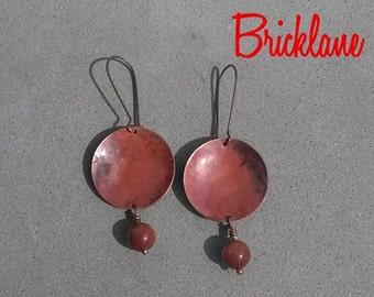 Copper earrings Fire