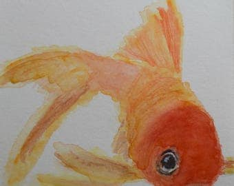 Watercolor Goldfish Notecards - Set of 4 Goldfish Notecards with Envelopes