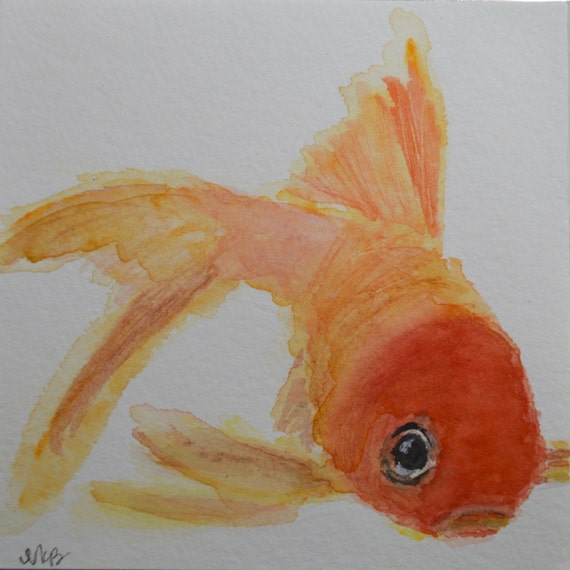 Watercolor Goldfish Notecards - Set of 8 Goldfish Notecards with Envelopes