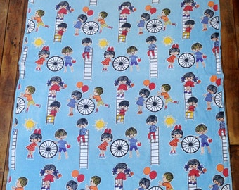1960's Fabric, 1960's Curtain, Children's room, Nursery, Mid Century, Vintage, Sewing, Cushion, Needlework, Child's Room Decor, Fun Material